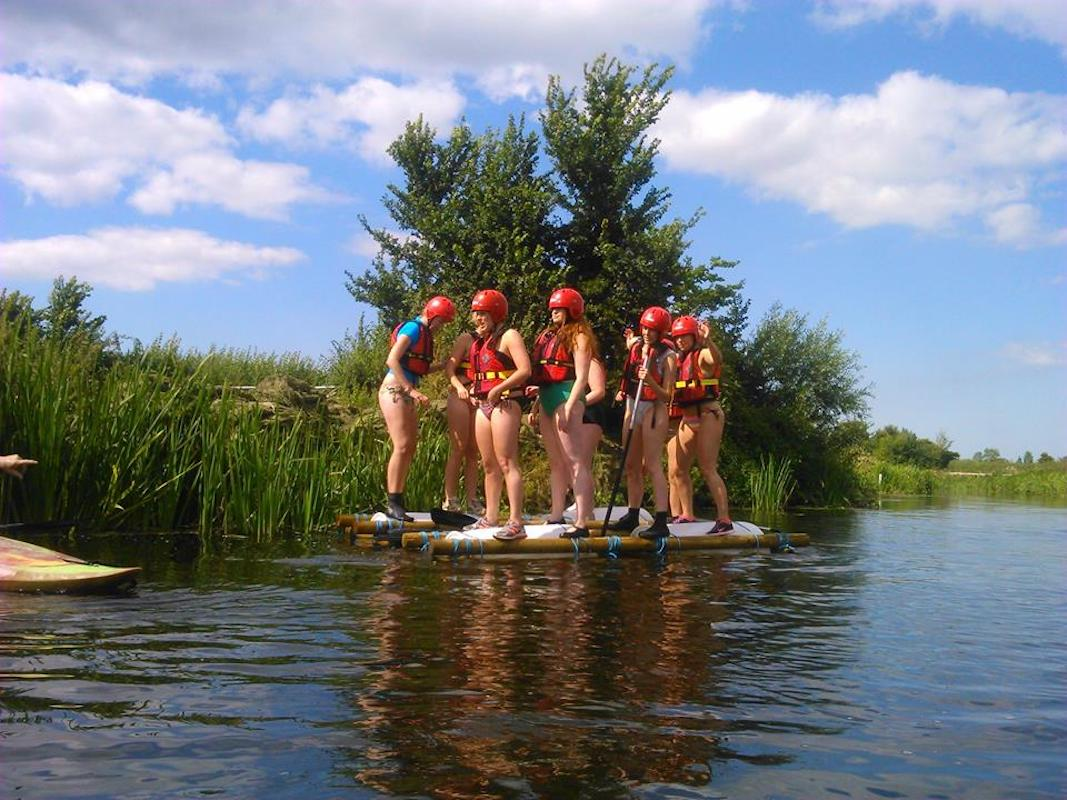 raft building activity for a hen party. unusual hen party activities