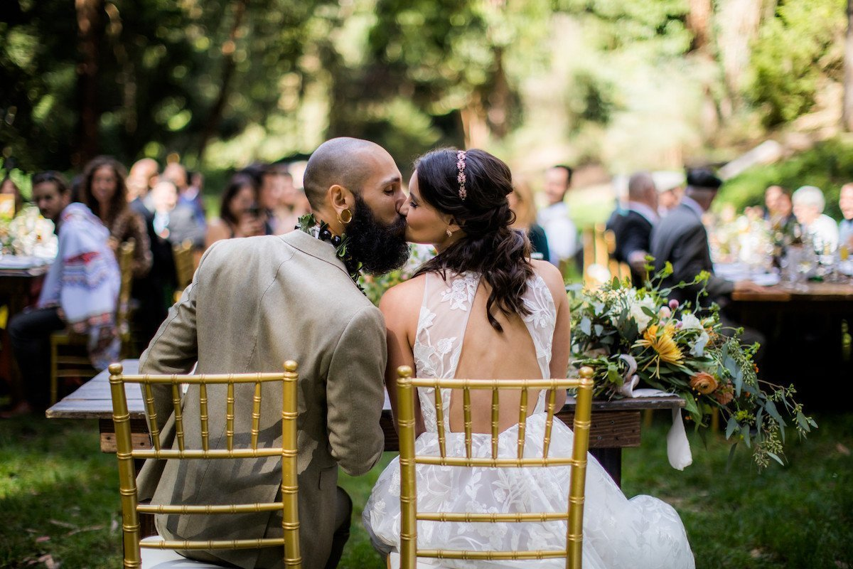 bride and groom at their outdoor wedding