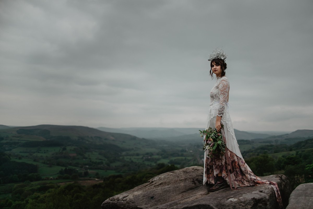 Wild peak elopement shoot. Alternative bride